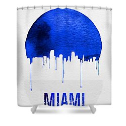 Miami Skyline Blue Shower Curtain by Naxart Studio