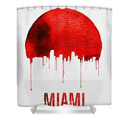 Miami Skyline Red Shower Curtain by Naxart Studio