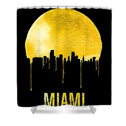 Miami Skyline Yellow Shower Curtain by Naxart Studio