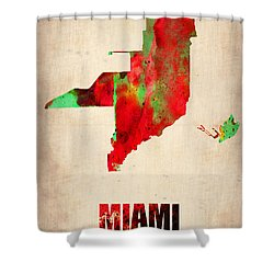 Miami Watercolor Map Shower Curtain by Naxart Studio