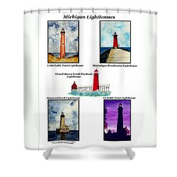 Michigan Lighthouses Collage Shower Curtain by Michael Vigliotti