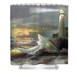 Michigan Seul Choix Point Lighthouse With An Angry Sea Shower Curtain by Regina Femrite