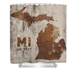 Michigan State Map Industrial Rusted Metal On Cement Wall With Founding Date Series 005 Shower Curtain by Design Turnpike