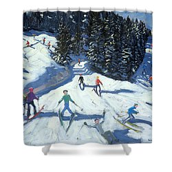 Mid-morning On The Piste Shower Curtain by Andrew Macara