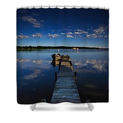 Midnight At Shady Shore On Moose Lake Minnesota Shower Curtain by Alex Blondeau