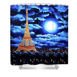 Midnight In Paris Shower Curtain by Laura Iverson