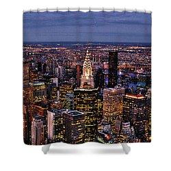 Midtown Skyline At Dusk Shower Curtain by Randy Aveille