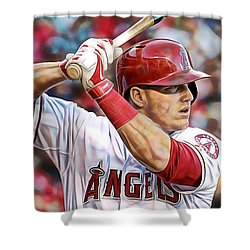 Mike Trout Baseball Shower Curtain by Marvin Blaine