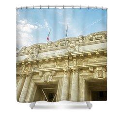 Milan Italy Train Station Facade Shower Curtain by Joan Carroll
