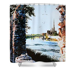 Mill Race Look-out Shower Curtain by Hanne Lore Koehler