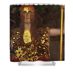 Minerva Shower Curtain by Gustav Klimt