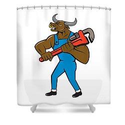 Minotaur Bull Plumber Wrench Isolated Cartoon Shower Curtain by Aloysius Patrimonio
