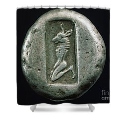 Minotaur On A Greek Coin Shower Curtain by Granger