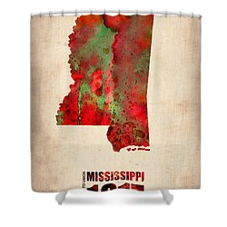 Mississippi Watercolor Map Shower Curtain by Naxart Studio