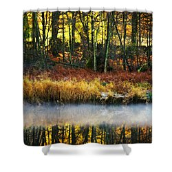 Mist On The Water Shower Curtain by Meirion Matthias