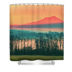 Misty Mountain Sunrise Part 2 Shower Curtain by Alan Brown
