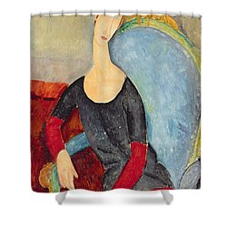 Mme Hebuterne In A Blue Chair Shower Curtain by Amedeo Modigliani