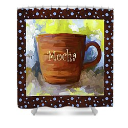Mocha Coffee Cup With Blue Dots Shower Curtain by Jai Johnson
