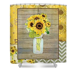 Modern Rustic Country Sunflowers In Mason Jar Shower Curtain by Audrey Jeanne Roberts