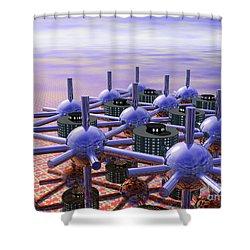 Modular City Shower Curtain by Nicholas Burningham