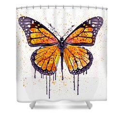 Monarch Butterfly Watercolor Shower Curtain by Marian Voicu
