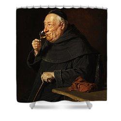 Monk With A Wine Shower Curtain by Eduard von Grutzner