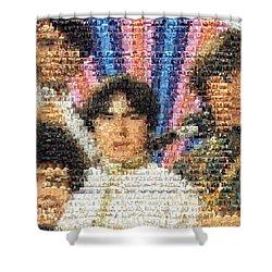Monkees Mosaic Shower Curtain by Paul Van Scott