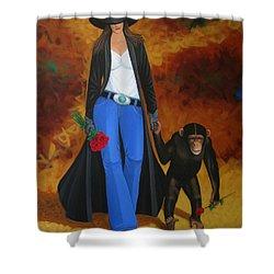 Monkeys Best Friend Shower Curtain by Lance Headlee