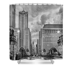 Monochrome Image Of The Marshall Suloway And Lasalle Street Canyon Over Chicago River - Illinois Shower Curtain by Silvio Ligutti