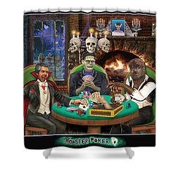 Monster Poker Shower Curtain by Glenn Holbrook