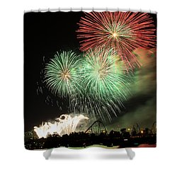 Montreal-fireworks Shower Curtain by Mircea Costina Photography