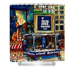 Montreal International Jazz Festival Shower Curtain by Carole Spandau