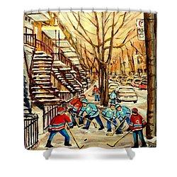 Montreal Street Hockey Paintings Shower Curtain by Carole Spandau