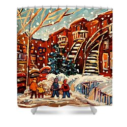 Montreal Street In Winter Shower Curtain by Carole Spandau
