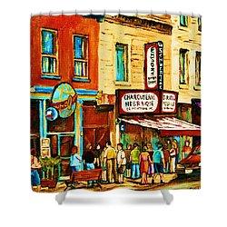 Montreal Streetscene Artist Carole Spandau Paints Schwartzs Main Street Hustle Bustle Shower Curtain by Carole Spandau