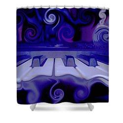 Moody Blues Shower Curtain by Linda Sannuti