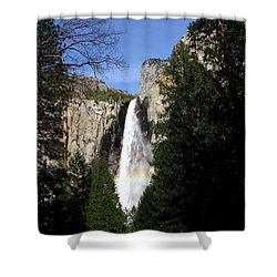 Moon Over Bridalveil Fall At Yosemite Shower Curtain by Wingsdomain Art and Photography