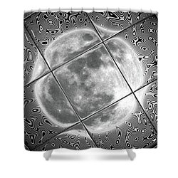 Moon Tile Reflection Shower Curtain by Stephen Younts