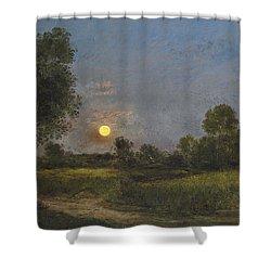 Moonrise Shower Curtain by Charles Francois Daubigny