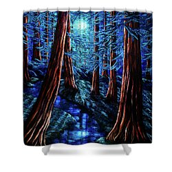 Moonrise Over The Los Altos Redwood Grove Shower Curtain by Laura Iverson
