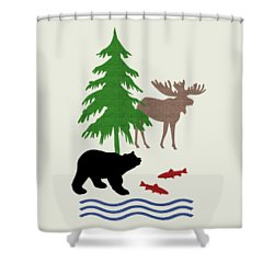 Moose And Bear Pattern Art Shower Curtain by Christina Rollo