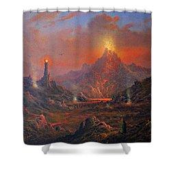 Mordor Land Of Shadow Shower Curtain by Joe Gilronan
