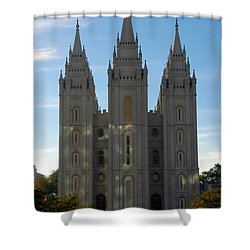Mormon Temple Fall Shower Curtain by David Lee Thompson