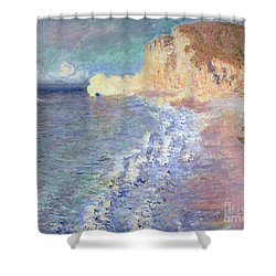 Morning At Etretat Shower Curtain by Claude Monet