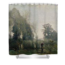 Morning At Ville Davray Shower Curtain by Jean Baptiste Camille Corot