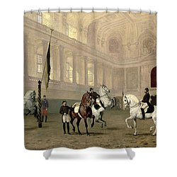 Morning Exercise In The Hofreitschule Shower Curtain by Julius von Blaas