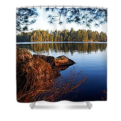 Morning On Chad Lake 2 Shower Curtain by Larry Ricker