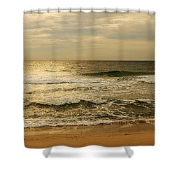 Morning On The Beach - Jersey Shore Shower Curtain by Angie Tirado