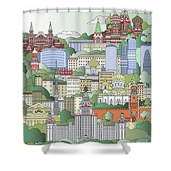 Moscow City Poster Shower Curtain by Pablo Romero