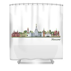 Moscow Skyline Colored Shower Curtain by Pablo Romero